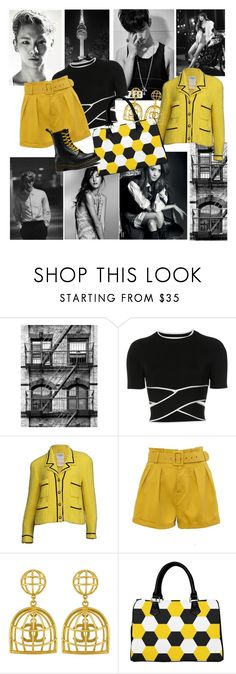"""""""black and yellow"""" by dogatalya ❤ liked on Polyvore featuring Roberto Cavalli, T By Alexander Wang, Chanel, Vintage and Dr. Martens"""
