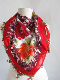 Christmas gift RED  SQUARE Turkish Yemeni OYA Scarf by asuhan, $35.90