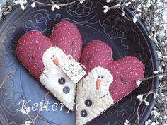 Primitive Christmas Valentine Snowman Heart Ornies by keiter70