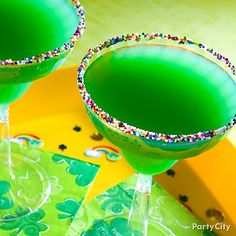 Click the image for our Lucky Charm  cocktail recipe served with a yummy rim of rainbow sprinkles. Sláinte!