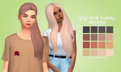 """lazerlemon: """" Gigi and sunny recolor by Lazerlemon • download the meshes: here (1&6) • comes in the saccharine palette • tag me if you use them • download; gigi//sunny """""""