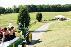 tractor pulling the bridal party