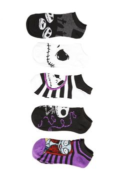 The Nightmare Before Christmas Jack & Sally No-Show Socks 5 Pair. This pack includes five pairs of no-show socks inspired by The Nightmare Before Christmas. One size 97% polyester; 3% spandex Wash warm; dry low Imported. Price: $14.50