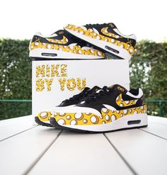 Are these custom painted Nike air Max 1 dangerously cheesy done by @tazz.customs #jordans #jordan #airjordan #nike #nikes #nikeairjordan #jordansneakers #sneakers #shoes #fashion #streetwear #hypebeast #sneakerart #art #fashion #womensfashion #mensfashion #style #airmax #airmax1 visit www.customizerdepot.com for tutorial videos, products and more content