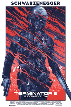 """2015. Limited edition screen print inspired by James Cameron's movie """"Terminator 2: Judgement Day"""". Made for Grey Matter Art and Studio Canal. 5 colours Regular, Variant and Foil Variant will be available in 24 x 36"""" size. Work made digitally in Adobe Photoshop. Printed by D&L Screen Printing. Art Direction: Gabz / Mike Gregory."""
