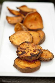 Clean Eating BBQ Sweet Potatoes ...oh my gaahhhh these were STUPID delicious. I nixed the olive oil and just sprayed them with olive oil Pam generously on both sides then shook them with garlic powder, season salt, and Cajun seasoning. TO. DIE. FOR. I will make them VERY frequently!