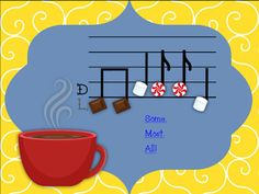 L,-D-R-M Cup of Cocoa Solfege and Rhythm Game using Low La, Do, Re, Mi, quarter note, barred eighth notes, and flagged eighth notes