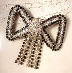 HUGE Art Deco Black & Clear Rhinestone Bow Bridal by AmoreTreasure, $75.98