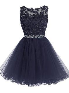 Hot sale Short Prom Dress Tulle Applique Evening Dress Lace Homecoming Dress Knee-Length Short Navy blue Dress Cheap#promdress#dress#dresses#gowns#minidress