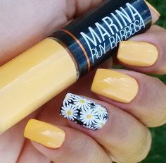 ideas for nails yellow design white flowers Yellow Nails Design, Yellow Nail Art, Acrylic Nails Yellow, Spring Nails, Summer Nails, Daisy Nails, Daisy Nail Art, Sunflower Nails, Nagel Gel