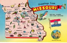 Missouri State Map Postcard  Greetings From  by heritagepostcards, $2.75