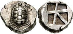 Silver stater from Aegina circa 455-431 BCE    The front shows a land tortoise with segmented shell and on the reverse is an incuse square with skewed pattern.    Aegina is one of the Saronic Islands of Greece 17 miles from Athens. Tradition derives the name from Aegina the mother of the hero Aeacus, who was born on the island and became the king of it. During ancient times Aegina was a rival of Athens, the great sea power of the era.