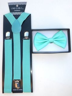 Teal Turquoise Mint Green Suspender and Bowtie Tuxedo Matching Color USA SELLER