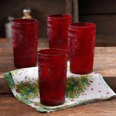 The Pioneer Woman Adeline 16-Ounce Embossed Glass Tumbler, Set of 4, Red, Dishwasher Safe