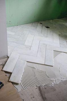 -Large Herringbone Marble Tile Floor – How To DIY It For Less – Shine DIY & Design Cut marble into strips for herringbone pattern See it