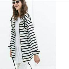Striped Parka Striped zara parka with hood. Zara Jackets & Coats Utility Jackets