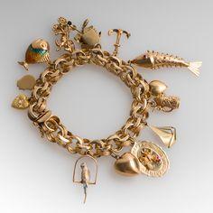 Estate+14K+Yellow+Gold+Vintage+Charm+Bracelet