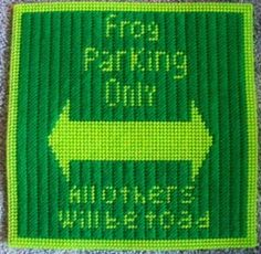frog parking sign Plastic Canvas Pattern 3.00