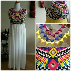 HPx2 White Chiffon Chevron Maxi-Aztec Tribal Style This vibrant maxi is so pretty and ankle length, perfect for upcoming seasons.  It has pretty jewel accents on the top and also comes with 3 chevron style necklaces.  You can wear necklaces separately or all three together with dress.  I have this in both yellow and white.  Size large fits 8-10. Dresses