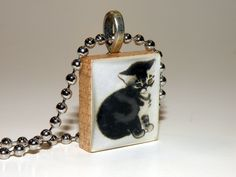 LIttle Tabby Kitten Scrabble Tile Necklace By HArtworks  #Hartworks #Chain