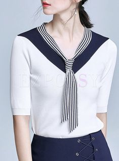 Casual Color Blocking V-neck Half Sleeve Sheath Blouse Casual Skirt Outfits, Casual Dresses, Fashion Dresses, Casual Clothes, Blouse Styles, Blouse Designs, Sewing Blouses, Half Sleeves, Ladies Dress Design