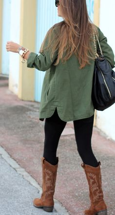 forest green, leggings & cowboy boots.