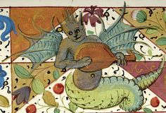 Hybrid wild man with bat wings playing lute | Breviary | France | ca. 1511 | The Morgan Library & Museum