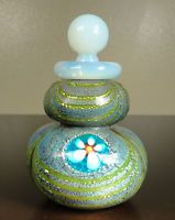 FRANCO MORETTI MURANO DOUBLE GOURD ART GLASS PERFUME BOTTLE STOPPER MILLEFIORI