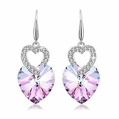 PLATO H Heart of Ocean Earrings with Swarovski Crystals Fashion Jewelry Valentines Day Gift for HerPurple  Product Features   – Material: Crystals from Swarovski and rhodium plated alloy  – Size: Weight: 0.24 ounces, Height: 0.98 inches, Width: 0.69 inches  – Color: Purple pink (as picture show)   – Design: stylish      Maintenance Instruction   – Due to jewelry's characteristics, it must not be exposed to high mechanical and chemical stress  – Light dust can be easily removed with a..