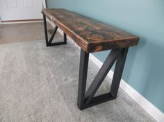 Reclaimed wood bench with steel legs by KRWOODPECKER on Etsy