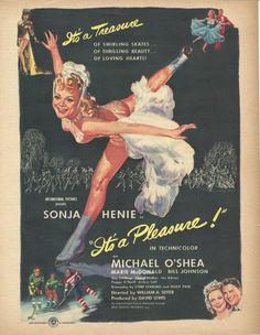 Ice Skater Sonja Henie in It's a Pleasure Film Original 1945 Vintage Print Ad Color Illustration Movie Stars Michael O'Shea; Figure Skating
