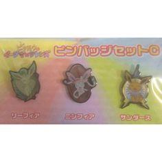 Pokemon Center 2013 Leafeon Sylveon Jolteon Set of 3 Movie Pin Badges