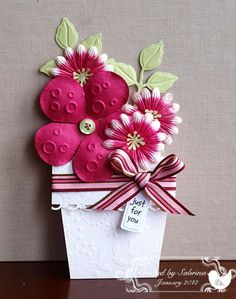 Flower Pot Card...creater used the tutorial on the Splitcoast Stampers Site...rich, bright color and embossing folders...so beautiful...