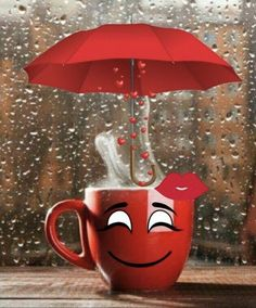 Que delicioso tomar un rico café en tiempo de lluvia y de frío .😀👍😉☕☕