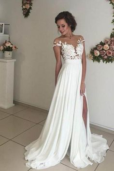 Ivory Sweep Train Wedding Dress,Cap Sleeves V-neck Bridal Gown with Appliques, PW113