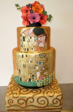 The Klimt Wedding Cake (designed for a pseudo wedding of the painting curator at the Toronto Art Gallery)