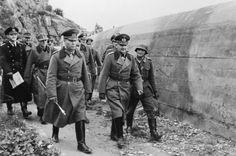 ATLANTIC WALL 1944 (HU 28594)   Field Marshal Erwin Rommel, commander of the German anti-invasion forces, inspecting German defences on the Atlantic Wall.
