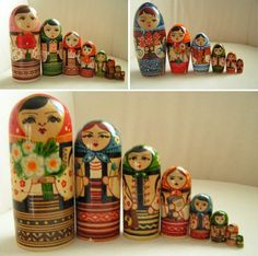 The dolls above are from Ukraine, they have unique bullet-shaped bodies. In 1900 Mamontov wife presented the first Russian nesting dolls at the World Exhibition in Paris.  Soon after nesting dolls were being made throughout Russia and the surrounding regions.