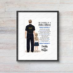DIGITAL FILE My Daddy is a Police Officer Policeman Cop Father Canada Canadian Academy Graduation Watercolor Portrait Illustration Create Your Character, Textured Canvas Art, Personalized Graduation Gifts, Gifts For Horse Lovers, Horse Print, Portrait Illustration, Watercolor Portraits, My Daddy, Police Officer