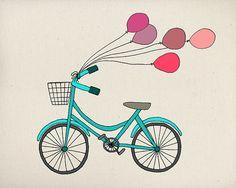Artículos similares a VENTA - bicicleta y globos - impresión del arte de ilustración en Etsy