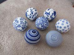 Black And White Decorative Ceramic Balls 13 Antique Victorian Scottish Ceramic Carpet Balls ~ Great Colors