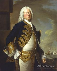 Thomas Hudson,Portrait Of Admiral John Byng(1704-1757) oil painting reproductions for sale