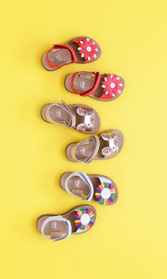 When it comes to sandals, we won't stand for anything less than 3D mouse ears and rainbow petals. Bringing a little fun to your outfits, the oversized 3D details add a playful pop of colour and charm to any little girls outfit. Shop our unique leather vacation sandals by clicking on the image.