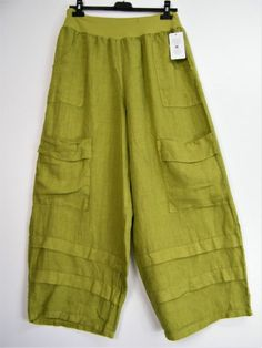 LAGENLOOK 100% LINEN ITALIAN TROUSERS IN 5 COLS 2 SIZES : One size: Reg & Plus