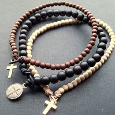 mens leather and beads bracelets | Mens triple pack wooden beaded leather cord bracelets with silver ...