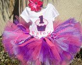 Purple cupcake birthday tutu set- personalized with name and birthday number- custom sewn baby-6x
