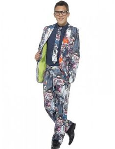 You can buy a Teen Zombie Suit for Halloween parties from the Halloween Spot. Dress like a zombie with this colourful suit with Jacket, Trousers & Tie. Dance Costumes, Cosplay Costumes, Halloween Costumes, Zombie Fancy Dress, Suit With Jacket, School Costume, Dress Suits, Dresses, Costume Dress