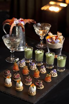 A selection of canapes created by Anton Manganaro christmas appetisers Appetizers For Party, Appetizer Recipes, Party Canapes, Canapes Recipes, Party Recipes, Christmas Canapes, Bon Dessert, Great Gatsby Party, Mini Foods