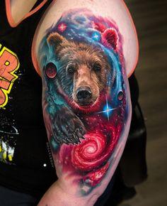 space bear tattoo - space bear tattoo www. Unique Tattoo Designs, Unique Tattoos, Beautiful Tattoos, Inspiring Tattoos, Arm Tattoo, Body Art Tattoos, Sleeve Tattoos, Space Tattoos, Tattoo Ink