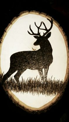 Woodburn deer shillouette More Woodburn deer shillouette Wood Burning Kits, Wood Burning Stencils, Wood Burning Crafts, Wood Burning Patterns, Wood Crafts, Stencil Wood, Diy Wood, Diy Crafts, Wood Burned Signs